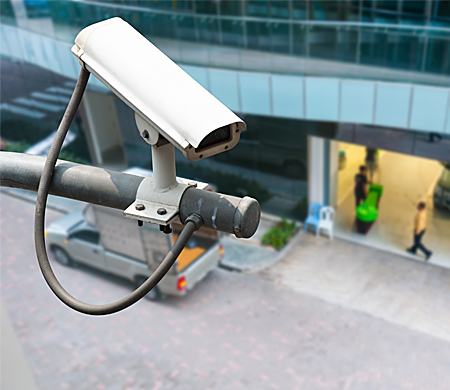 Surveillance Operating On Building Entrance